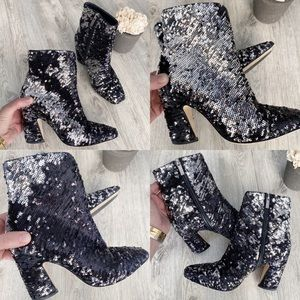 Jimmy Choo Sequin Black & Silver Ankle Booties